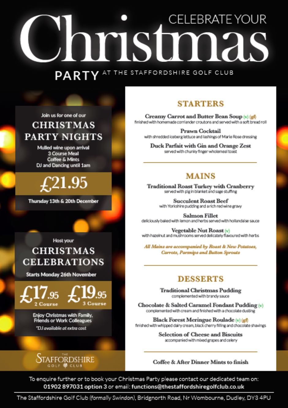 Christmas Party & Celebrations | The Staffordshire Golf Club